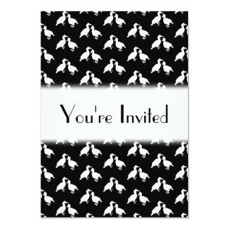 Black and White Bird Pattern. 13 Cm X 18 Cm Invitation Card