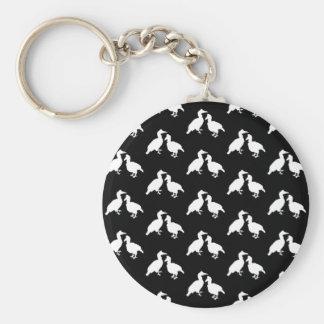 Black and White Bird Pattern Keychain
