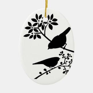 Black and White Birds Christmas Ornament
