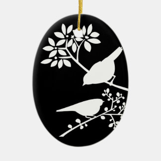 Black and White Birds Christmas Ornament