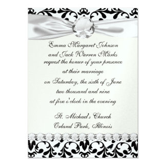 black and white birds intricate damask pattern card