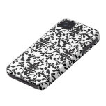 black and white birds intricate damask pattern Case-Mate iPhone 4 cases
