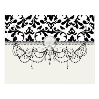 black and white birds intricate damask pattern postcard
