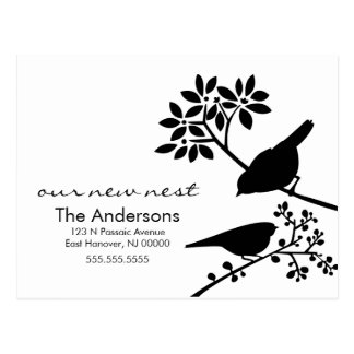 Black and White Birds Moving Announcements Postcard
