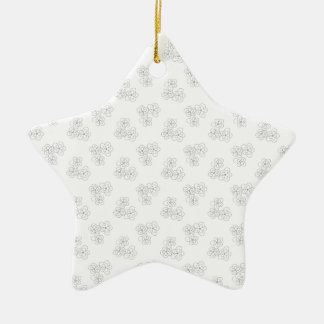 Black and white blossom ceramic star decoration