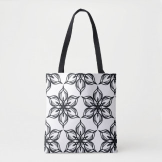 Black and white blossom kaleidoscope tote bag