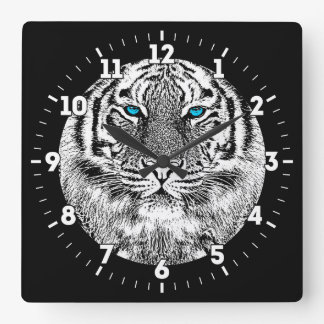 Black And White Blue Eyes Tiger design on a Square Wall Clock