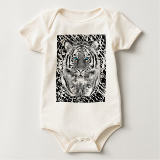 Black And White Blue Eyes Tiger Graphic Baby Bodysuit