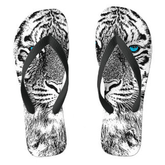 Black And White Blue Eyes Tiger Graphic Flip Flops