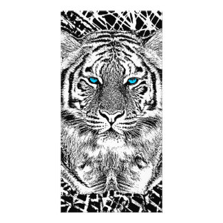 Black And White Blue Eyes Tiger Graphic Photo Greeting Card