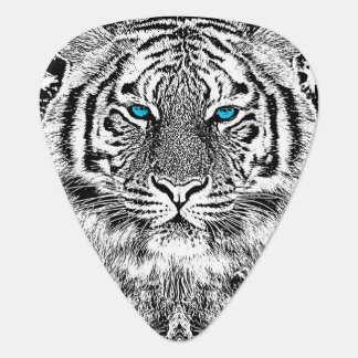 Black And White Blue Eyes Tiger Graphic Plectrum