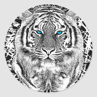 Black And White Blue Eyes Tiger Graphic Round Sticker