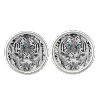 Black And White Blue Eyes Tiger stripes Cuff Links