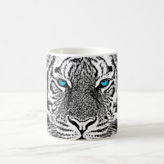 Black And White Blue Eyes wild Tiger face Coffee Mug