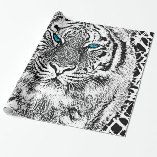 Black And White Blue Eyes wild Tiger face Wrapping Paper