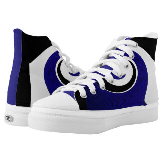Black and white blue surf high tops