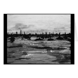 Black and White Boat Painting Greeting Card