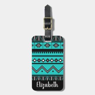 Black and White Bohemian Tribal Aztec Luggage Tag
