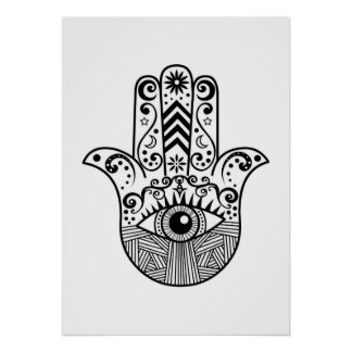 Black and White Boho Hamsa Hand Art Poster