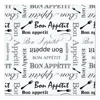 Black and White Bon Appetit Vintage French Bistro 13 Cm X 13 Cm Square Invitation Card