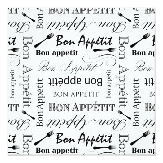 Black and White Bon Appetit Vintage French Bistro Card