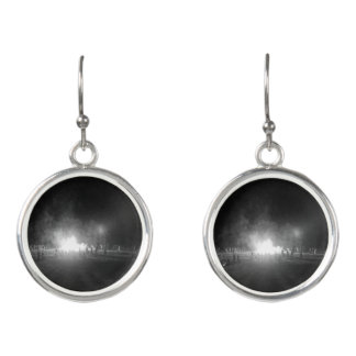 Black and white bonfire print women's earrings