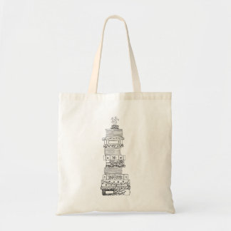 Black and White Bookstack Tote