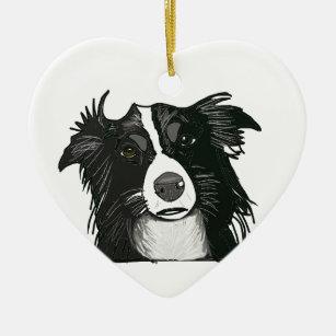 Black and White Border Collie Ceramic Heart Christmas Ornament
