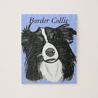 Black and White Border Collie Jigsaw Puzzle