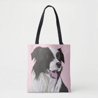 Black and white Border Collie Tote Bag