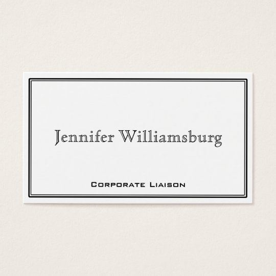 Black and White Border Professional Business Card