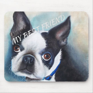 BLACK AND WHITE BOSTON TERRIER MOUSE MAT