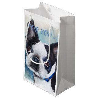 BLACK AND WHITE BOSTON TERRIER SMALL GIFT BAG