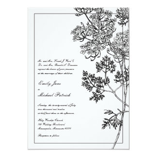 Black and White Botanical Illustration Wedding 13 Cm X 18 Cm Invitation Card