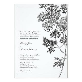 Black and White Botanical Illustration Wedding Card