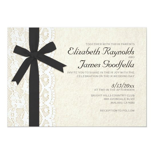 Black And White Bow & Lace Wedding Invitations