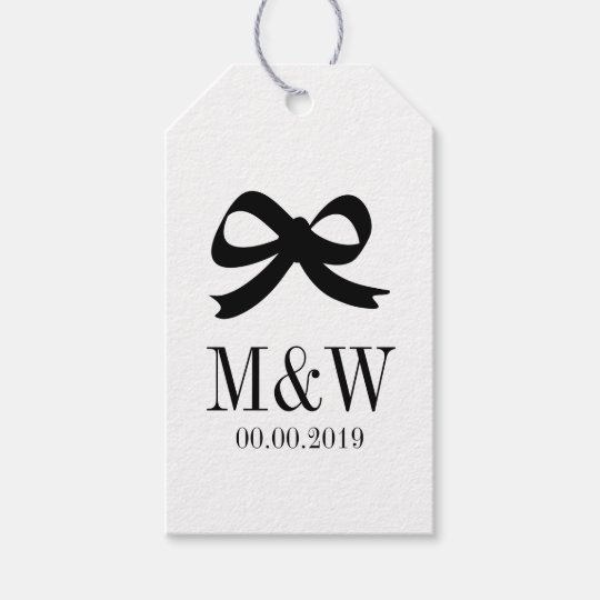 Black and white bow ribbon wedding favour gift