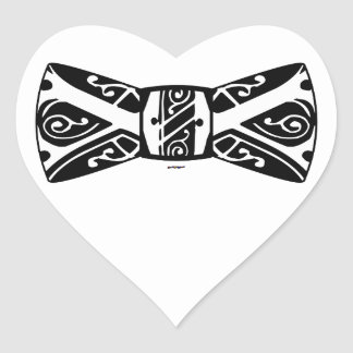 Black and White Bow Tie Heart Stickers