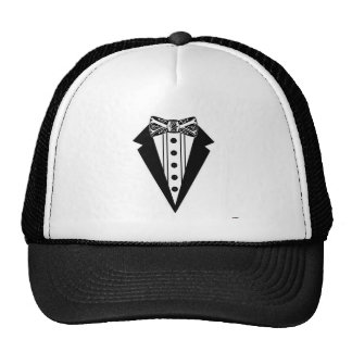 Black and White Bow Tie with Tux Cap