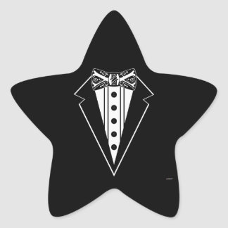 Black and White Bow Tie with Tux Star Sticker