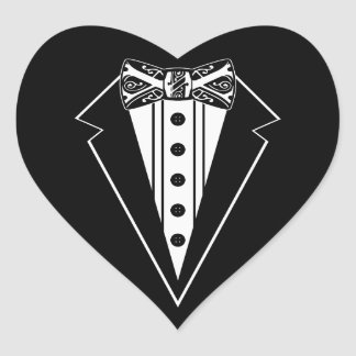 Black and White Bow Tie with Tux Stickers