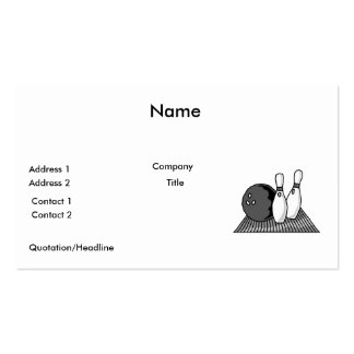 black and white bowling alley design pack of standard business cards