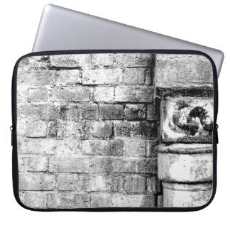 Black and White Brick Sleeve Laptop Sleeves