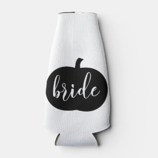 Black and White Bride Fall Wedding with Date Bottle Cooler