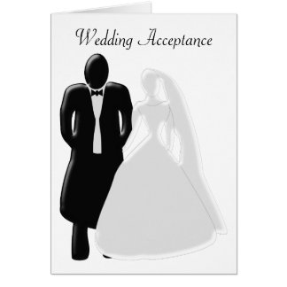 Black And White Bride With Groom Acceptance Card