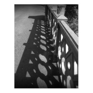 Black and White Bridge Casting Shadow Silhouette Postcard