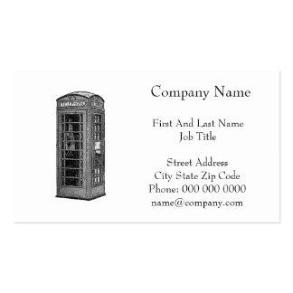 Black and White British Telephone Box Illustration Business Card