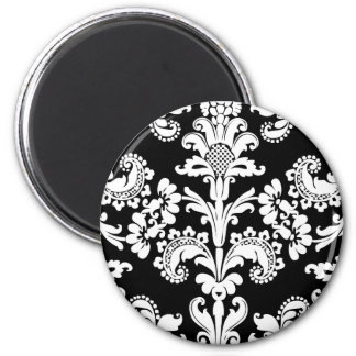 Black and White Brocade 6 Cm Round Magnet