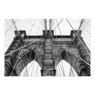 Black and White Brooklyn Bridge Photo NYC