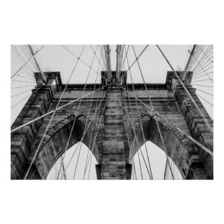 Black and White Brooklyn Bridge Photo NYC Posters